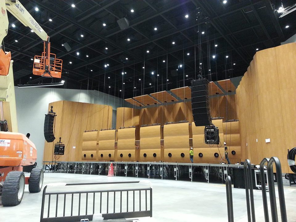 Polar Focus line array trolley system for Mankato Event Center