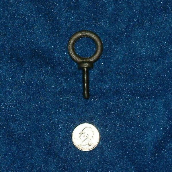 Forged shoulder eyebolt with 1/4 inch 20 tpi threads, 1 inch long shank